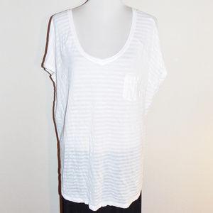 22/24 Lane Bryant White Stripe Cap Sleeve Knit Top